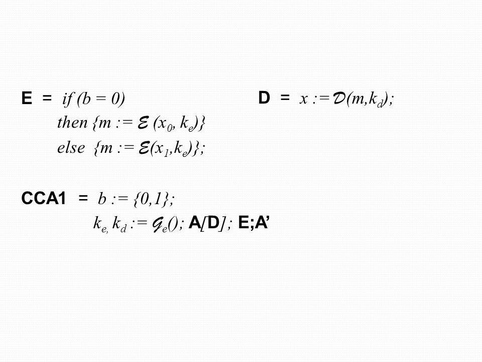 E = if (b = 0) then {m := E (x0, ke)} else {m := E(x1,ke)}; CCA1 = b := {0,1}; ke, kd := Ge(); A[D]; E;A'